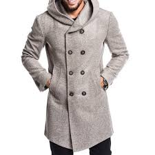 charmkpr men warm slim mid long hooded solid color double ted trench coats cod