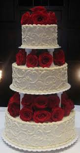 3 Tier Wedding Cake With Red Roses Add A Black Ribbon To The Base