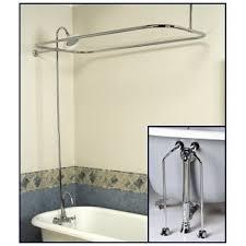 bath shower combo faucet. complete chrome add-on shower combo set for clawfoot tub - faucet, riser, bath faucet