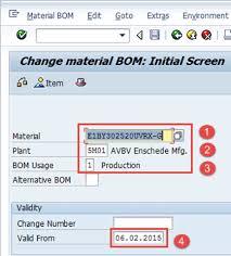 Bill Of Material (Bom) In Sap Pp: Create, Change, Display