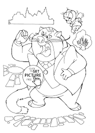 Chip And Dale And Fat Cat Coloring Pages For Kids Printable Free