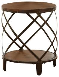 steve silver winston round end table in distressed