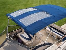 flexible solar panels installed on a bimini top