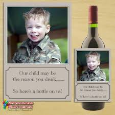 personalised teacher gift idea our child wine chagne bottle photo label n74