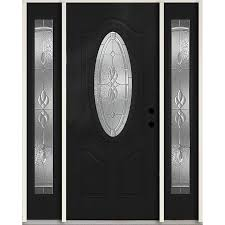 reliabilt hampton oval lite decorative glass left hand inswing peppercorn painted fiberglass prehung entry door with sidelights and insulating core common