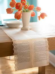 vine old book pages table runners with fl designs