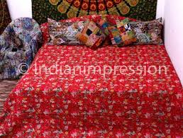 55 best Kantha Quilts, Throws & Rugs images on Pinterest | Bed ... & New Floral Red Kantha Quilt Queen Bedspread Ethnic Art Throw Blanket Indian  Boho #Handmade Adamdwight.com