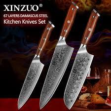 Xinzuo 3 Pièces Pro Ensembles De Couteaux De Cuisine Japonais Forgé