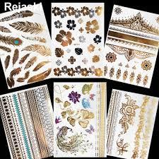 для женщин ручной сливы цветок временные татуировки ключицы золотой металлик
