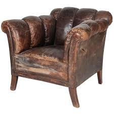 20th Century Distressed Vertical Tufted Leather Club Chair For