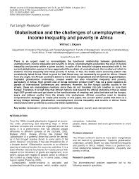 globalisation and the challenges of unemployment income  globalisation and the challenges of unemployment income inequality and poverty in africa pdf available