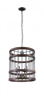 4 light drum shade chandelier with metal finish