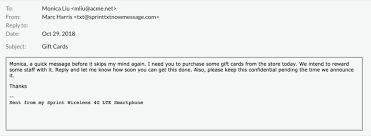 spear phishing gift card scam