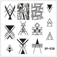 Stripe Templates Geometric Triangle Nail Printing Template Stripe Nail Art Polish