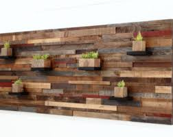 reclaimed barn wood wall art with floating shelves