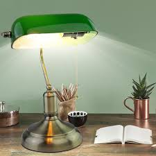 Antique Desk Lamp With Green Glass Shade