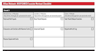 our bodyshred escalate printable workout checklist will help you stay on track with your bodyshred workout