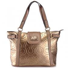 Coach In Printed Signature Large Gold Totes AZV