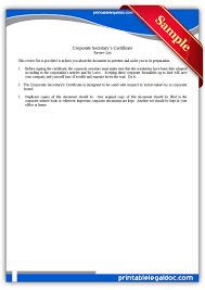 Free Printable Corporate Secretary S Certificate Sample Printable