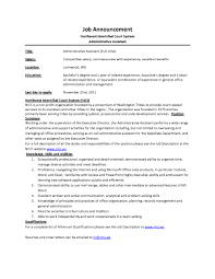 Administrative Assistant Job Description Sample JobAnnouncementNICSAdminAssistant administrative assistant 1
