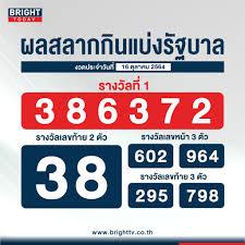 ตรวจหวย 16 ตุลาคม 2564 ผลสลากกินแบ่งรัฐบาล รางวัลที่ 1 คือ 386372