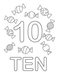 Small Picture Learn Number 10 with Ten Candies Coloring Page Learn Number 10