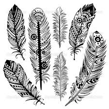 Set Of Ethnic Feathers Stock Vector