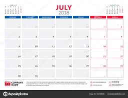 July 2018 Calendar Planner Design Template Week Starts On Monday