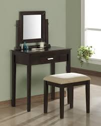 Furniture. Black Stained Oak Wood Small Table Dresser With Square Black  Wooden Frame Swing Mirror