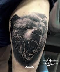 фото татуировки медведь в стиле реализм черно белые татуировки на