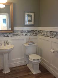 bathrooms with glass tiles. White Board And Batten Wainscot With Glass Tile Inlay For Basement Bathroom Bathrooms Tiles