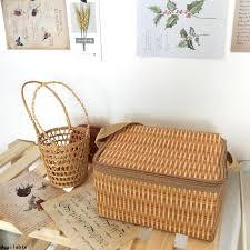 ※Ins Korean <b>style</b> picnic insulation basket <b>rattan flower</b>-shaped ...
