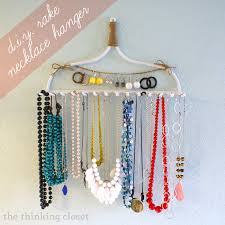 d i y rake necklace hanger by the thinking closet