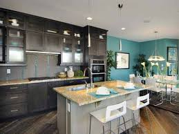 Plain Dark Kitchen Cabinets Colors Blue Walls Throughout Ideas