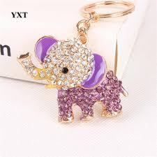 Purple Elephant Lovely New Crystal Pendant Charm Purse Bag <b>Car</b> ...