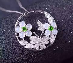 natural white jade pendant s925 silver natural gemstone pendant necklace trendy luxury flower erfly women gift jewelry fortuna brands