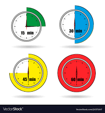Timer Fifteen Minutes Clock Icons Stopwatch Time From 15 Minutes To 60