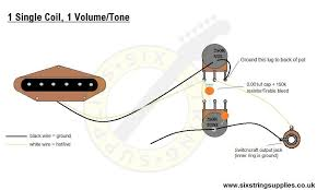 six string supplies 1 single coil 1 volume 1 tone if you are using a humbucker instead of single coil the principle is the same alternatively refer to our les paul junior wiring diagram