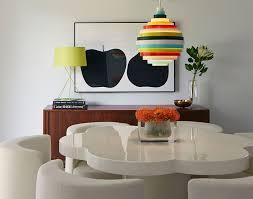 midcentury lighting. Colorful Accent Lighting In Midcentury Dining Room [Design: Alison Damonte Design]