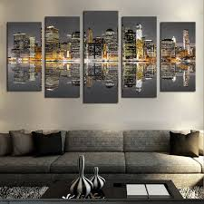 details about 5pcs chicago city night skyline paintings canvas print wall art home decor
