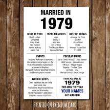 40th anniversary gift present poster print married back in 1979 2019 edition milestone 34