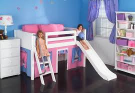 Elegant White Wood Low Loft Bed With Playhouse And Slide Maxtrix