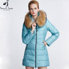 snow classic winter jacket women real rac fur collar down coat female russian winter coats parka femme 12261