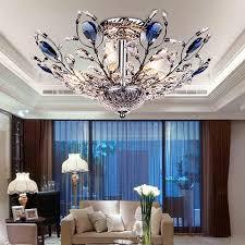 dixun contemporary mini crystal chandelier flush led crystal ceiling light finish chrome crystal pendant for living