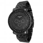 mens diamond watches mens prince collection black pvd plated black diamond watch 5 40 ctw