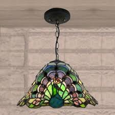 peacock pattern stained glass tiffany 1 light hanging pendant lighting