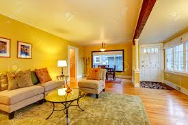 Orange And Yellow Living Room Furnished Living Room With Entrance Hall And Dining Area Yellow