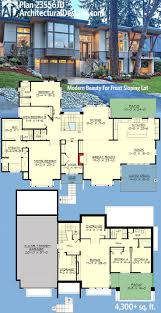 4,300 sq. ft. living, 2-story Modern Plan 23556JD for front-
