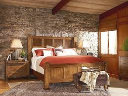 country bedroom ideas decorating. Country Bedroom Ideas With Rustic Decoration Solid Wood Bed  Set And Stone Wall Country Decorating