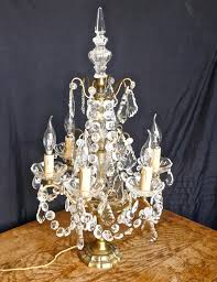 french brass crystal 6 branch chandelier table lamp girandole 2 of 8